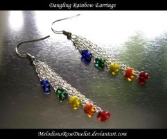 Dangling Rainbow Earrings by MelodiousRoseDuelist