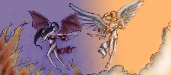 Angel vs Devil -  colored by TwickyGirl