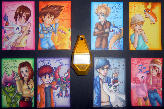 Digimon Adventure ATCs by Libra-the-Hedghog