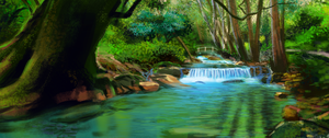environment practice - forest river by Yohiri