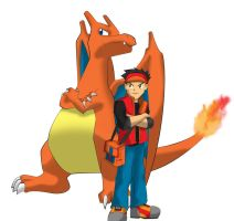 A charizard and trainer by YeyeiAlba