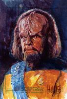 worf sketch card by charles-hall