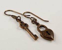 Heart and Key Earrings by CobwebCorner