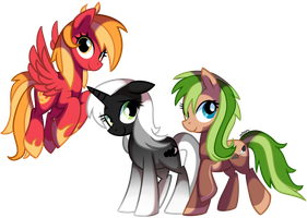 Gust, Dust and Arrow - Pony OC'S by pepooni