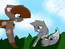 Bluekit and Tawnylight by Snowflame132