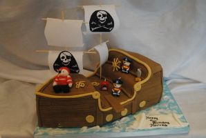Pirate ship cake by starry-design-studio
