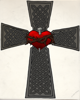 Tattoo Design - Celtic Cross w Sacred Heart by CrazyLittleOwl