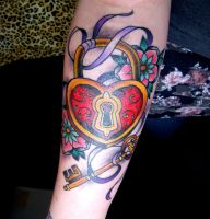 Heart Padlock and Key Tattoo by MissKellyLouise