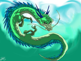 Water Dragon by WolfAngelStar