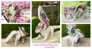 Cream and Floral Dragon Doll - Multiple Views by BeeZee-Art