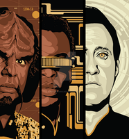Star Trek - Worf, Geordi, Data by tracieching