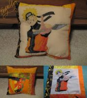 Naruto - Hand Embroidered Pillow by Blargmuffins