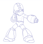 MEGA MAN (Lineart) by b-dangerous