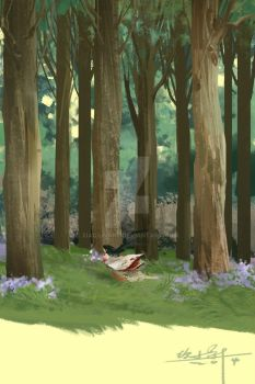 In the woods alone by xiaoxinart