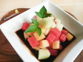 Melon Salad with lemongrass ginger sauce by Adiaz-Airtif