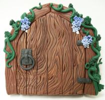 Trailing Blues Wood Fairy Door by KimsButterflyGarden
