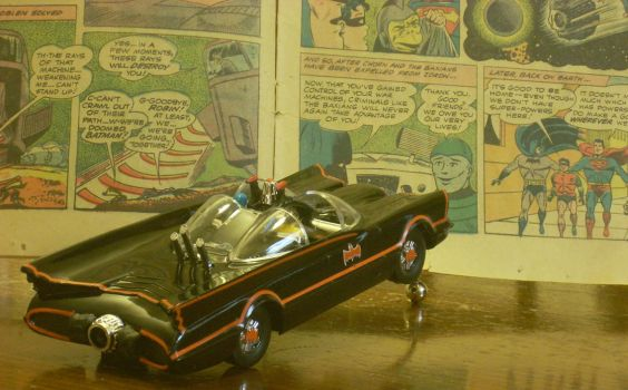Classic Batmobile Jumping Into Comics by NihonFreakMB