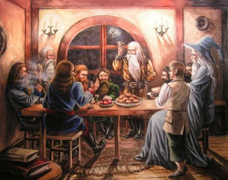 Dwarves at Bilbo's house by edarlein
