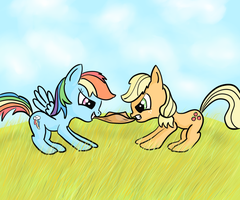 Rainbow Dash and Applejack Sharing and Caring by Redesine