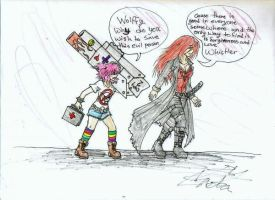 old drawing of my characters by HugAttack4JesusXD