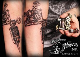 Realistic Tattoo Machine Tattoo by KimAnger