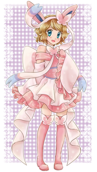 Serena cosplaying Sylveon - Commission by chikorita85