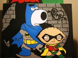 Crime Fighting Duo - Brian and Stewie painting by dianesart