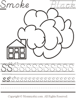 Mommysbiz | S-Smoke-Black Preschool Worksheet by DanaHaynes