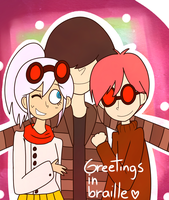 Xi, Sigma and Rho (Greetings in Braille) by dinosauriomutante