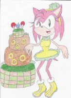 Amy Spring Time + Sonic Cake by BlueSpeedsFan92
