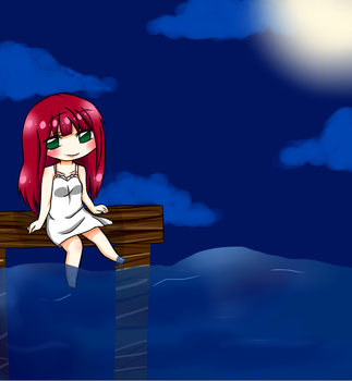 Chibi Person Sitting By Water by kimi1281