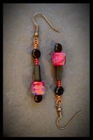 Pink Pomegranate Earrings by copper9lives