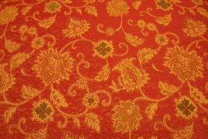 Red orange floral fabric by paintresseye