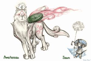 Amaterasu and Issun by Lithe-Fider
