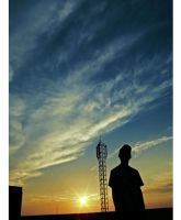 me,alone n the sunset by yudiari