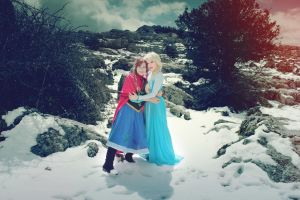 Elsa and Anna of Arendale Frozen cosplay by MissWeirdCat