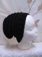 textured black slouchy beanie by user-name-not-found