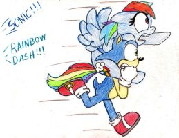 Sonic and Rainbow Dash by SilverSimba01