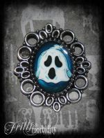 Ghoulish Ghost Brooch by FrillsandMorbidity