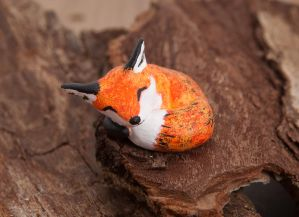 Sleeping red fox totem by lifedancecreations
