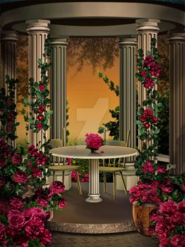 Arbour with a roses_ background stock by IgnisFatuusII