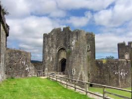caerphilly castle gate by pixini-stock