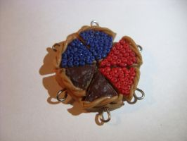 polymer clay blueberry, cherry and chocolate pie by trollwaffle