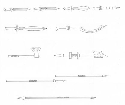 Weapon Concept Sketches by Ealdeth