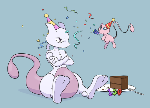 Happy Birthday Mewtwo by YellowHellion