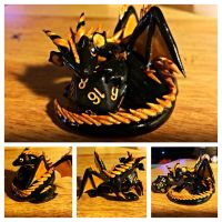 Black and Gold Dice Dragon by LittleCLUUs