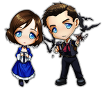 Bioshock Infinite Chibis - Booker and Elizabeth by ghostfire