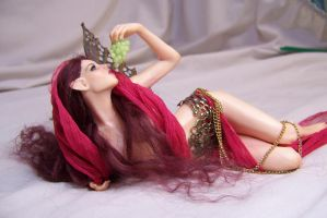 'Rani' ooak fairy eating grapes by AmandaKathryn
