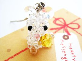 White Crystal Mouse Charm by SparkleMeHappy