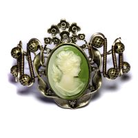 Steampunk Green Cameo Bracelet by CatherinetteRings